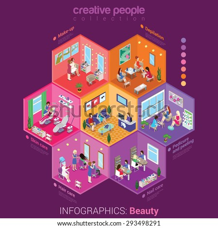 Beauty shop make-up body hair skin nail care peeling service flat 3d isometric infographics concept vector. Abstract interior room cell customer client visitor staff. Creative people collection. - stock vector
