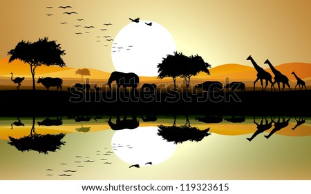 beauty silhouette of safari animal - stock vector