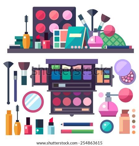 Beauty store. Cosmetics: mascara, gloss, lipstick, blush, perfume and make-up brushes. Vector flat illustrations - stock vector