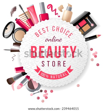 beauty store emblem with type design and cosmetics - stock vector