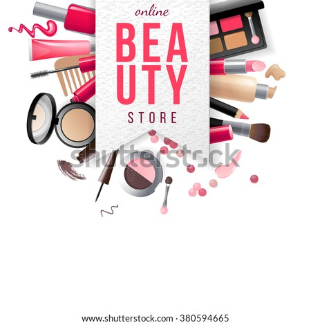 beauty store emblem with type design and cosmetics on white background - stock vector