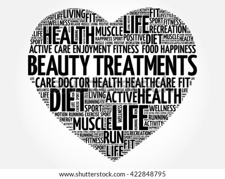 Beauty Treatments heart word cloud, fitness, sport, health concept