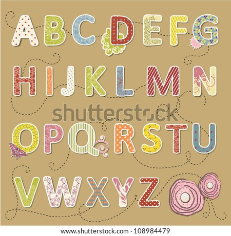 Beauty vector craft font. - stock vector