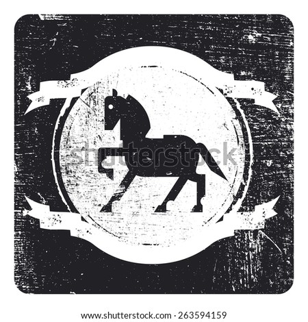 beauty vintage grunge and stencil inky black shield with horse and copy space - stock vector