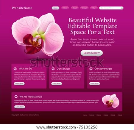 beauty website template - stock vector