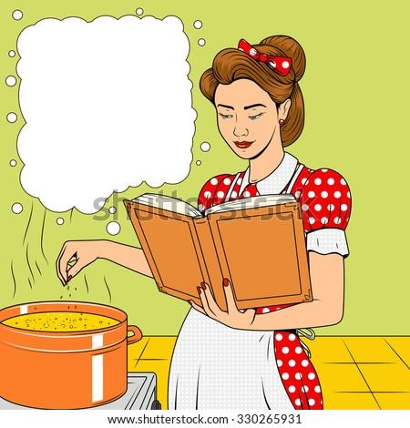 beauty wife cooking soup vector illustration stock vector 330265931 shutterstock. Black Bedroom Furniture Sets. Home Design Ideas