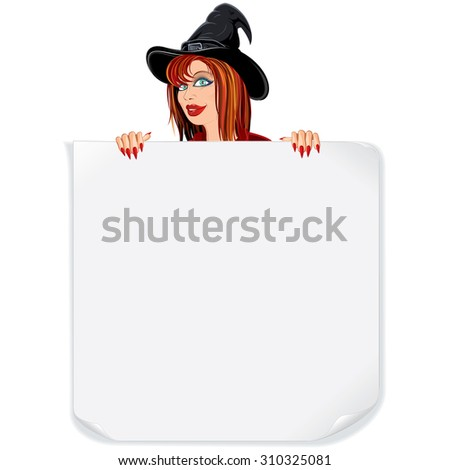 Beauty Witch with Paper Scroll.Ready for Your Text and Design. - stock vector