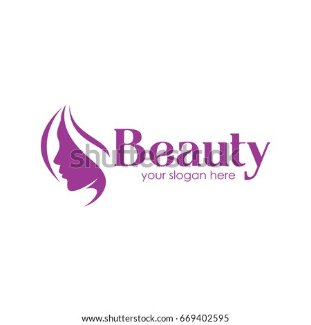 beautiful woman vector logo template hair stock vector