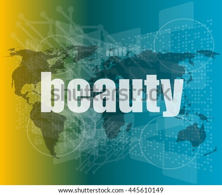beauty word on digital screen, mission control interface hi technology vector quotation marks with thin line speech bubble. concept of citation, info, testimonials, notice, textbox. flat - stock vector