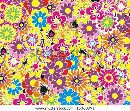 beautyful coloful flower background - stock vector