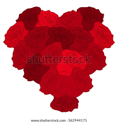 Beautyful heart of roses on white background.Valentines Day. Vector illustration. EPS 10 - stock vector