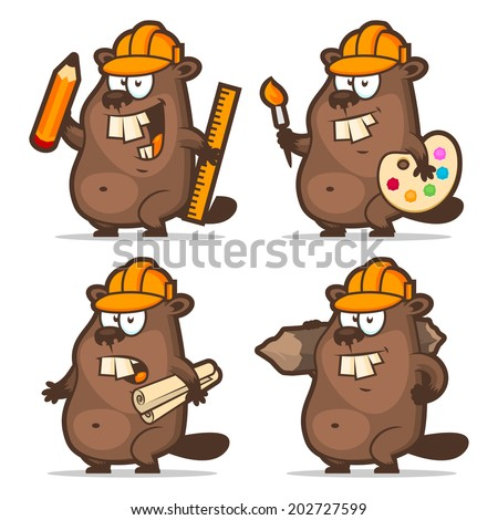 Beaver designer painter engineer builder - stock vector