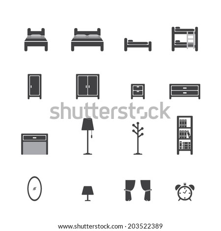 bed icon - stock vector