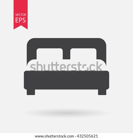 Bed Icon Vector. Flat design. Bed sign isolated on white background. - stock vector