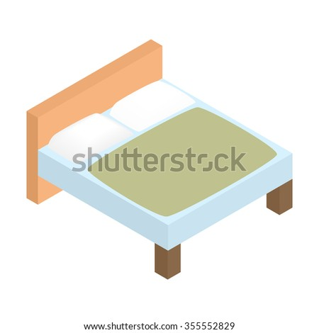 Bed linens isometric 3d icon. Tidy hotel bed. Single symbol on a white background - stock vector