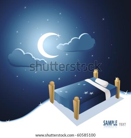 bed under beautiful night sky - stock vector