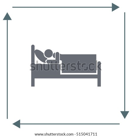Bed vector icon. Motel or hotel sign. Sleeping person relax symbol.