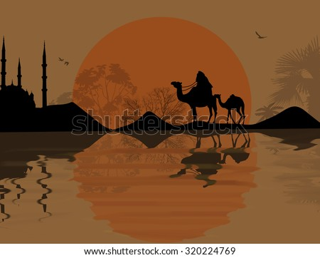 Bedouin camel caravan in beautiful landscape near water on sunset, vector illustration - stock vector