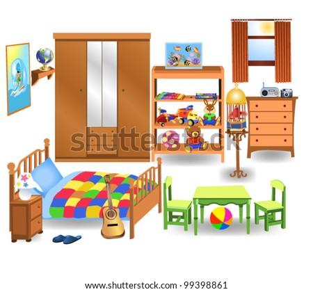 bedroom furniture stock vector