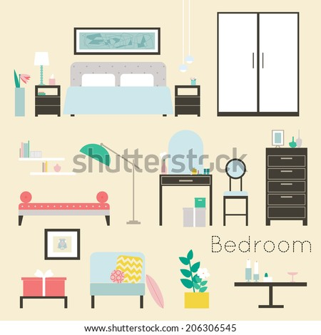 Bedroom. Furniture and Accessories - Modern bedroom furniture, including beds, day bed, night stands, chests of drawers, chairs, table and floor lamps and decoration - stock vector