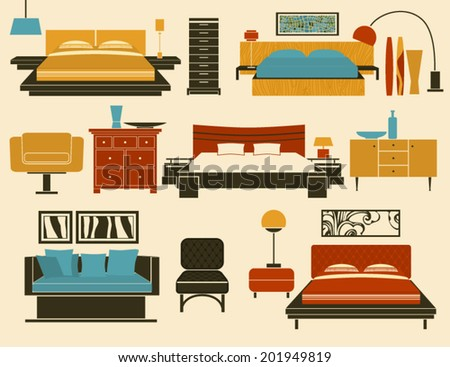 Bedroom Furniture and Accessories - Modern bedroom furniture, including beds, day bed, night stands, chests of drawers, chairs, table and floor lamps and decoration - stock vector