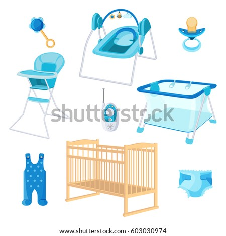 Bedroom Furniture Newborn Boy On White Vector de stock603030974 ...