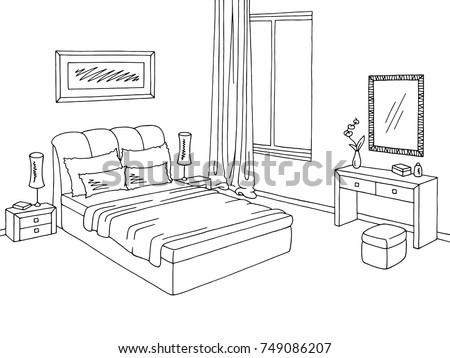Bedroom Graphic Black White Interior Sketch Illustration Vector