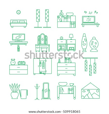 Interior furniture icons stock vector 353404676 shutterstock for Interior design web app