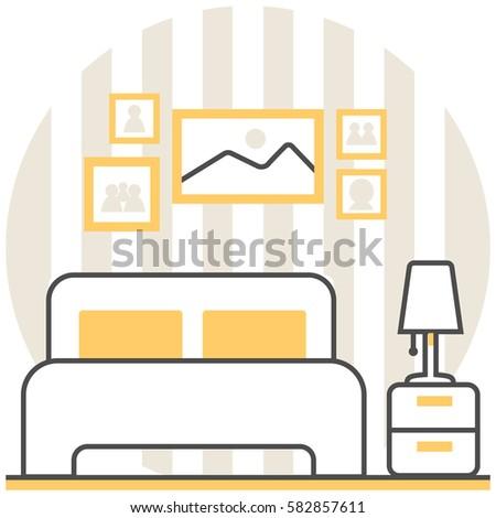 Flat thin line icons set interior stock vector 456172651 for Interior design web app