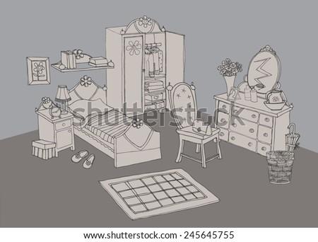 bedroom interior - stock vector