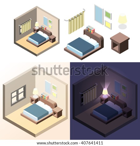 Bedroom Interior Day And Night