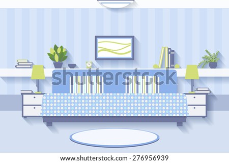 Bedroom interior design. Apartment and indoor comfortable, luxury and lamp. Vector illustration - stock vector