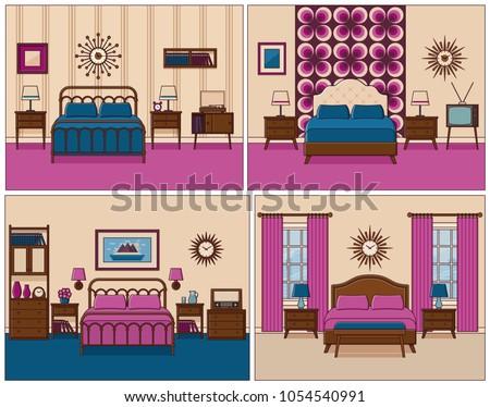 Bedroom Interior Hotel Rooms Bed Vector Stock Vector HD (Royalty ...
