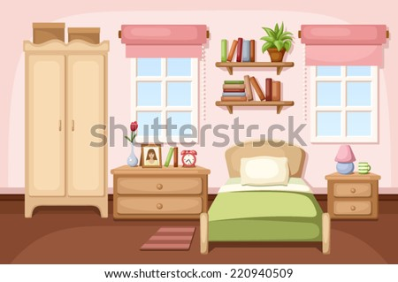 Bedroom interior. Vector illustration. - stock vector