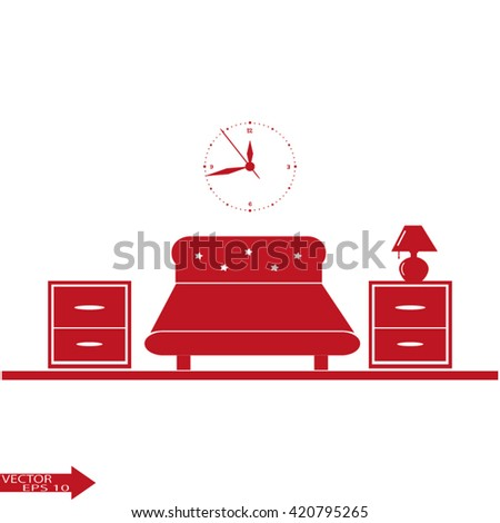 Bedroom interior with furniture. Vector bedroom. Bedroom design in flat style. Bedroom modern. Bedroom furniture vector illustration. Bedroom home. Interior room with bed, nightstand, table lamp, - stock vector