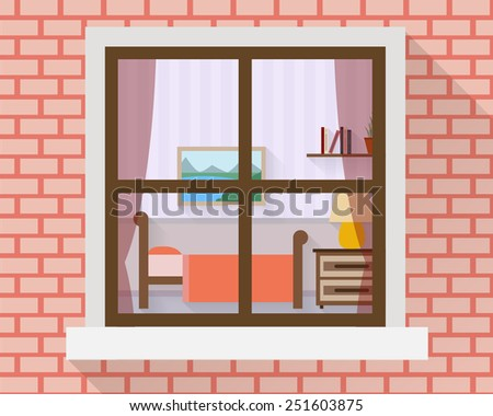 Bedroom with furniture through the window. Flat style vector illustration. - stock vector