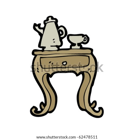 bedside table with coffee set cartoon - stock vector