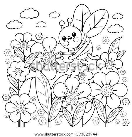 Bee And Flowers Black White Coloring Book Page