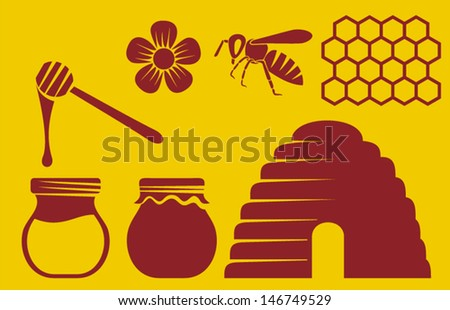bee and honey icons (beehive, bee icon, honey symbol, honey pot, honey icons collection, honey combs, honey dipper) - stock vector