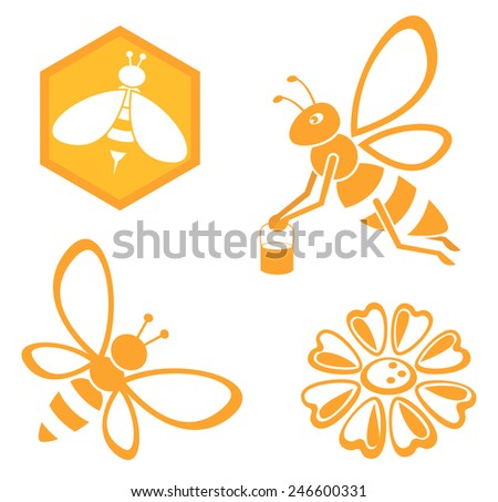 Bee and Honey set - stock vector