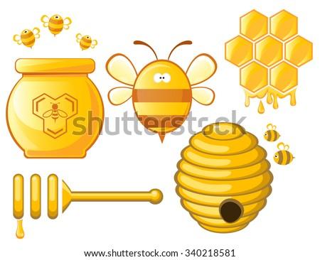 Bee And Honey Set Vector