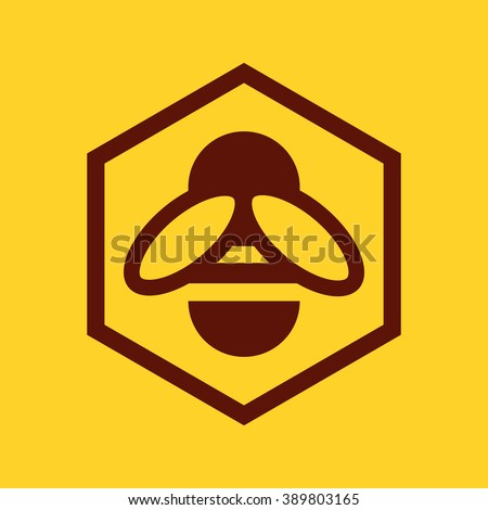 Bee and honeycomb icon on yellow background