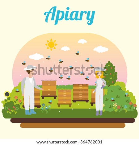 bee apiary. beekeeper - stock vector