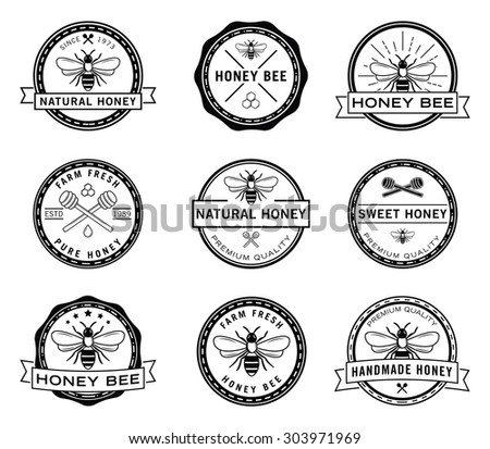 Bee badge collection - stock vector