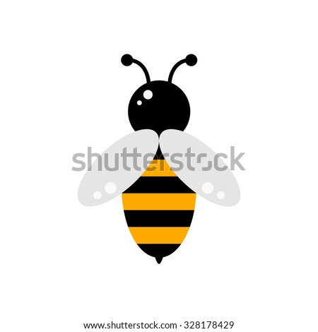 Bee. Bee icon. Isolated bee icon on white background. Honey bee. Isolated insect icon. Flying bee. Black bee with white wings. Flat style vector illustration.  - stock vector