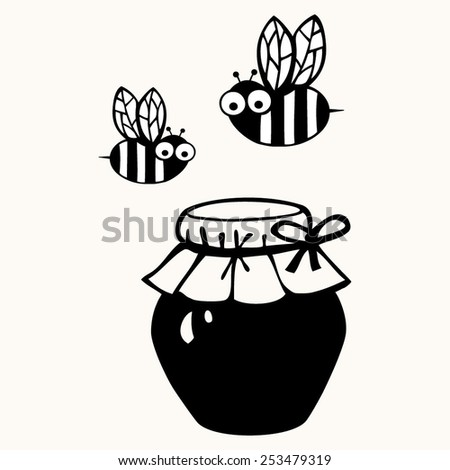 Bee. Black and white illustration.  - stock vector