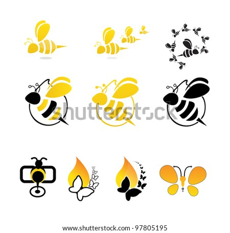 bee butterfly Vector - stock vector