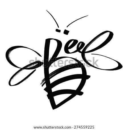 Bee Calligraphy design card - stock vector