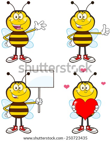 Bee Cartoon Mascot Character Different Interactive Poses 1. Vector Collection Set Isolated On White - stock vector