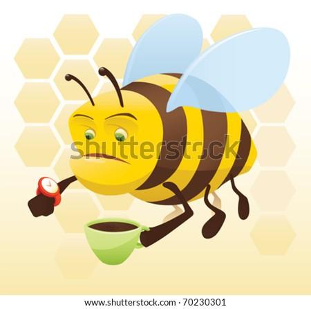 Bee Coffee Break - vector - stock vector
